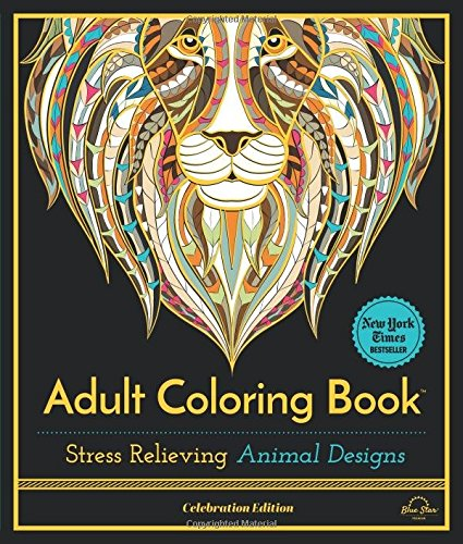 Adult-Coloring-Book-Stress-Relieving-Animal-Designs-Celebration-Edition-0